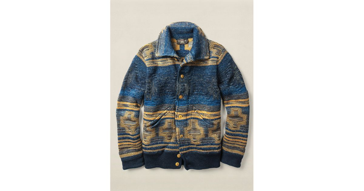 Rrl Indigo Cotton Sweater Jacket in Blue for Men | Lyst