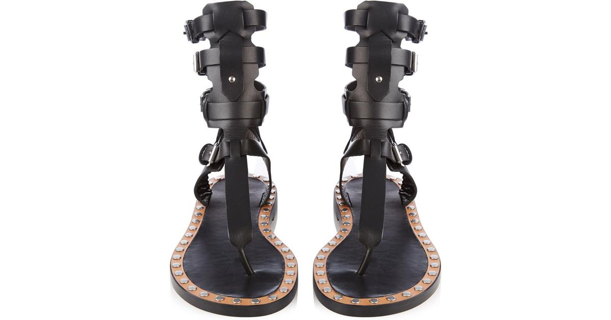 13041e2bc96b Isabel Marant Jeepy Gladiator Leather Sandals in Black - Lyst
