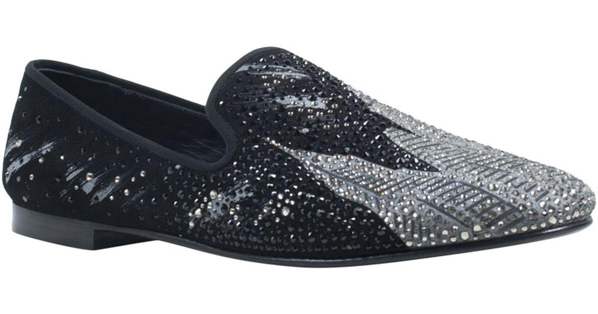 cabcdc8908e8d8 Lyst - Giuseppe Zanotti Suede Swarovski Crystal Slippers in Black for Men