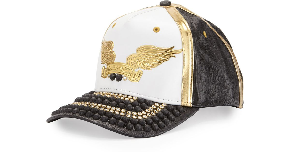Lyst - Robin s Jean Colorblock Studded-bill Baseball Cap in Metallic 0519719e902