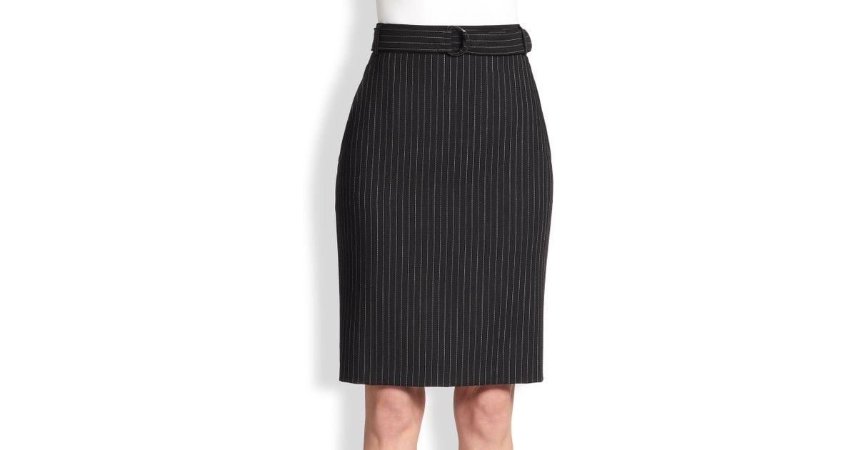 fd826db1d Akris Punto Pinstripe Belted Wool Pencil Skirt in Black - Lyst