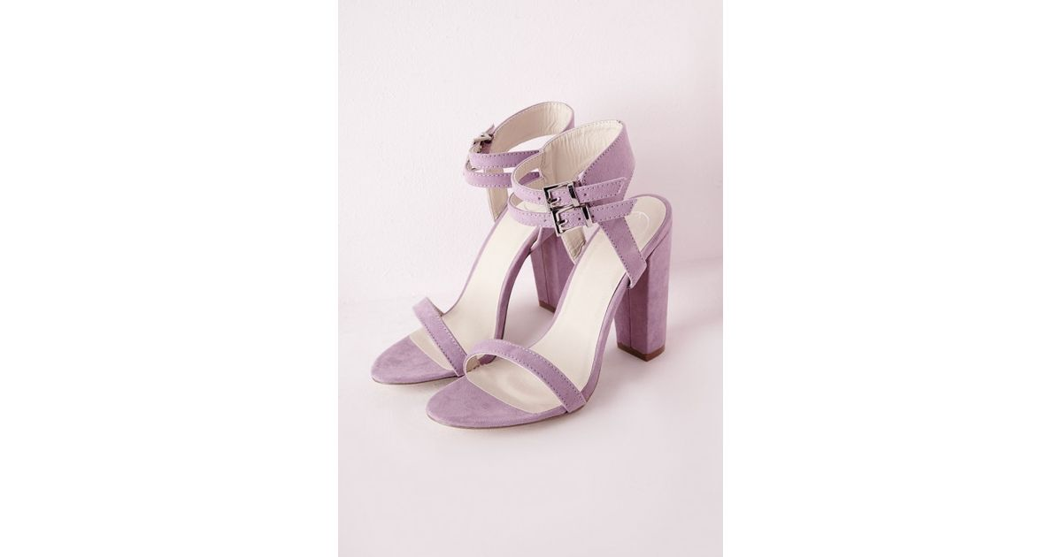 1b8382559505 Missguided Double Strap Block Heeled Sandals Lilac Faux Suede in Purple -  Lyst