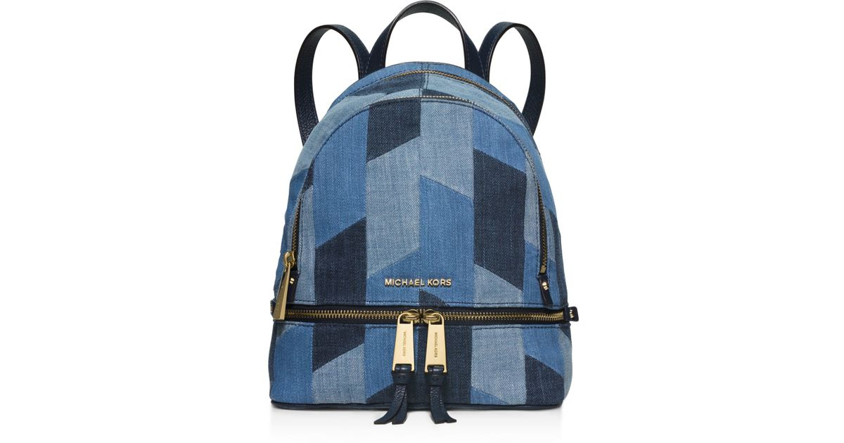 82fb20ca9773a4 MICHAEL Michael Kors Small Rhea Denim Backpack in Blue - Lyst