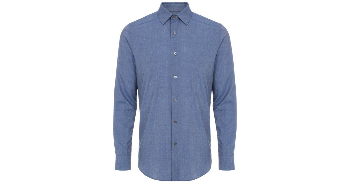 paul smith s jacquard chambray shirt in blue