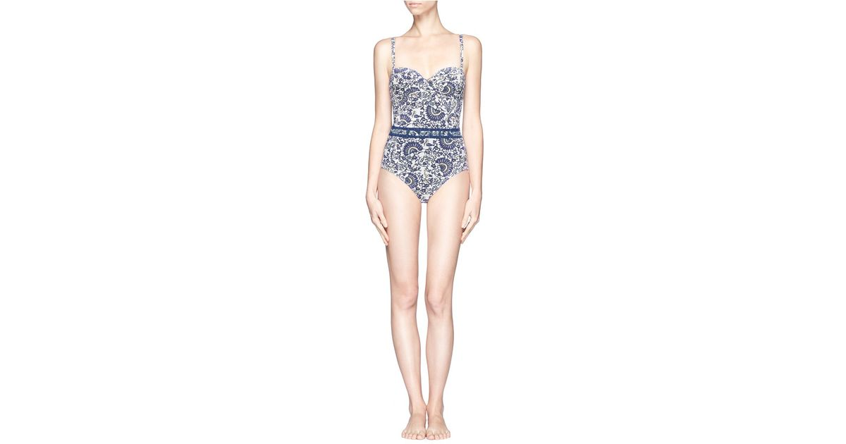 8bca1cd50427 Tory Burch Madura One-piece Swimsuit in Blue - Lyst