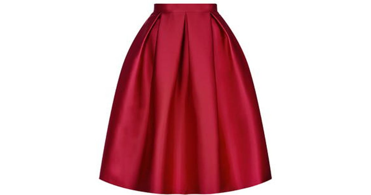 Topshop Satin Prom Midi Skirt in Red | Lyst