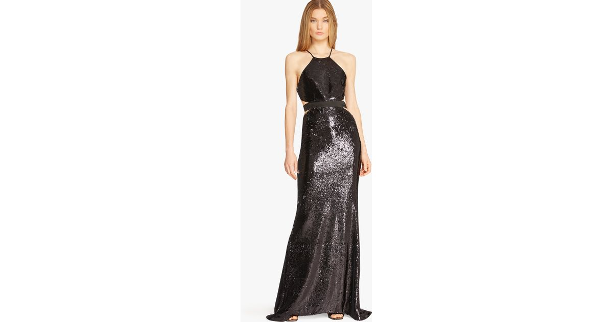 Lyst - Halston Sequin-Embellished Cut-Out Gown in Black