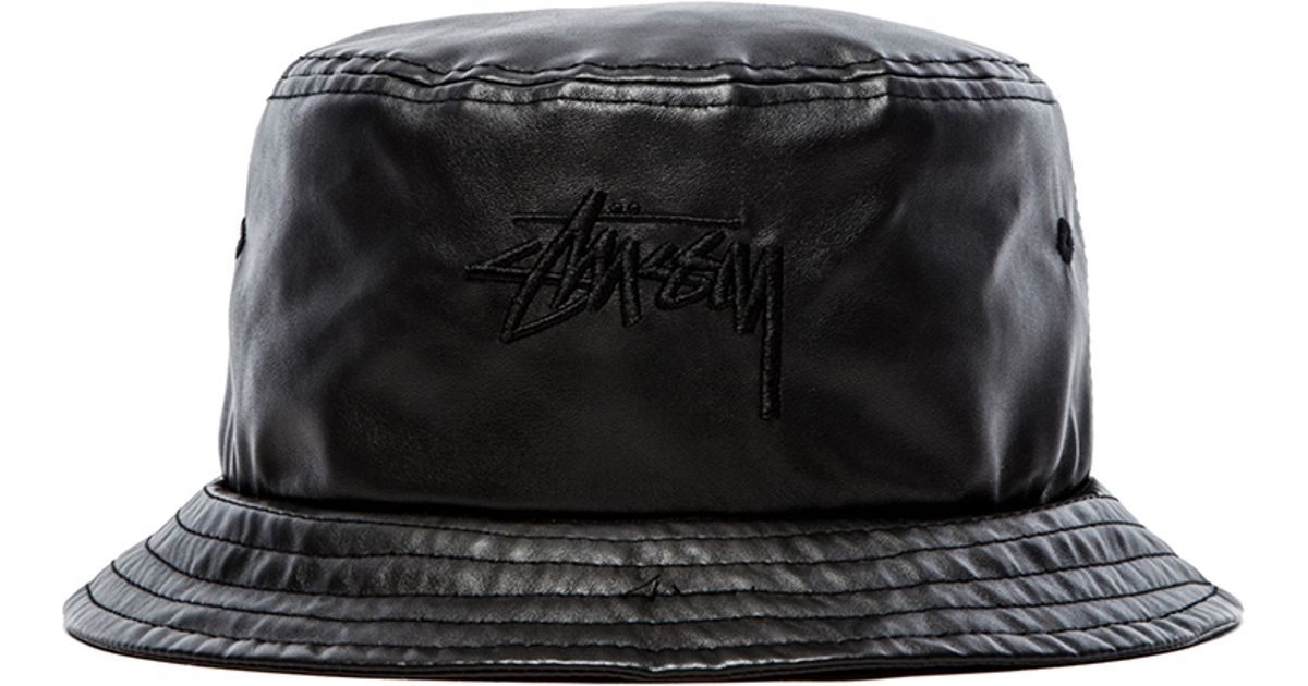 Lyst - Stussy Stock Faux Leather Bucket Hat in Black for Men 4a6f0902fb6