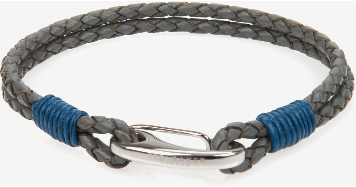 1de322c75 Ted Baker Woven Leather Bracelet in Gray for Men - Lyst