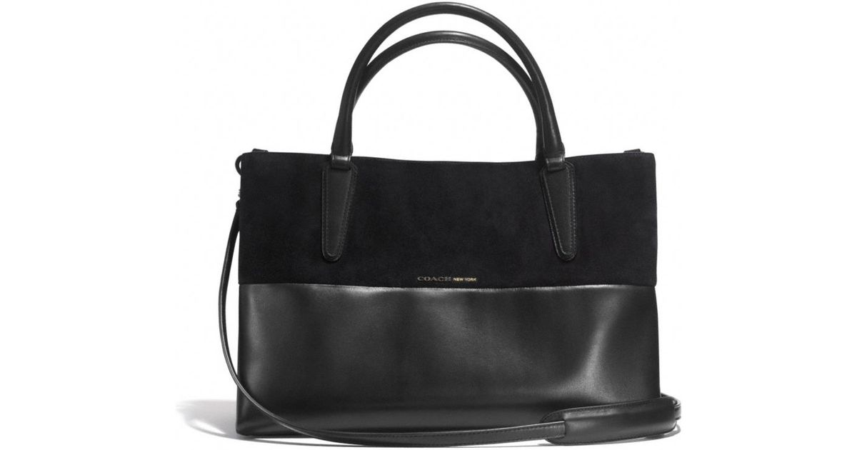... shopping lyst coach soft borough bag in retro glove tan leather and  suede in black 062f3 7101641ced