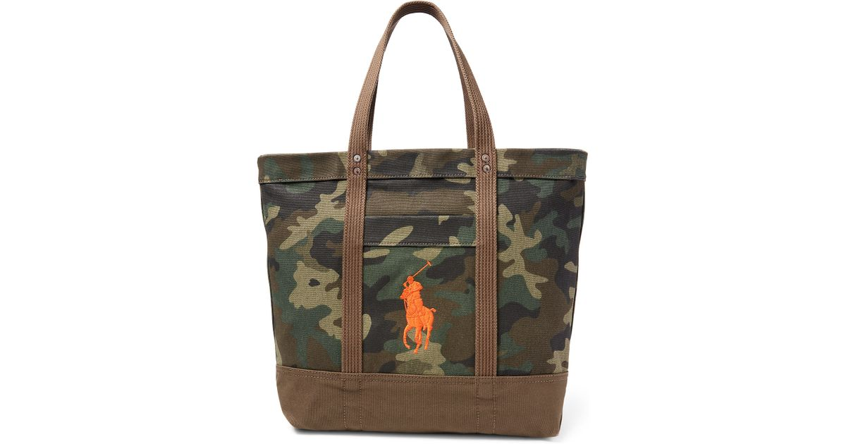 Lyst - Polo Ralph Lauren Big Pony Camouflage Tote in Green a3d14429d43a0