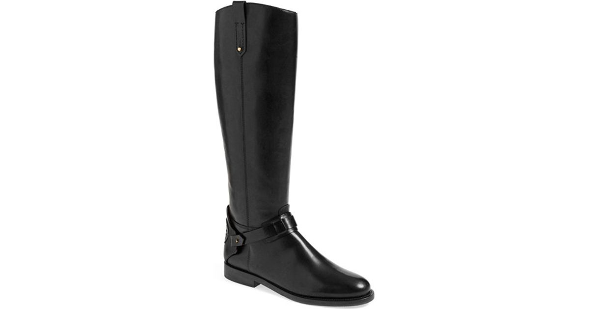 c574c51a44b8 Lyst - Tory Burch Derby Leather Riding Boots in Black