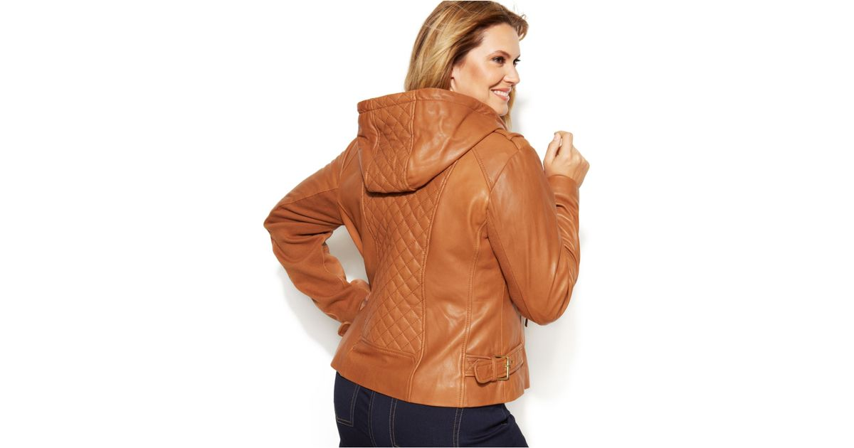 4cba3d03091 Michael Kors Michael Plus Size Knit-Inset Hooded Leather Jacket in Brown -  Lyst