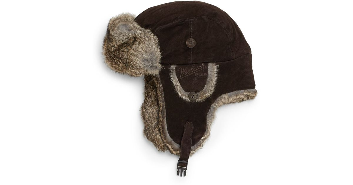 c2ff0e3080 Woolrich Suede Rabbit Fur Trapper Hat in Brown for Men - Lyst
