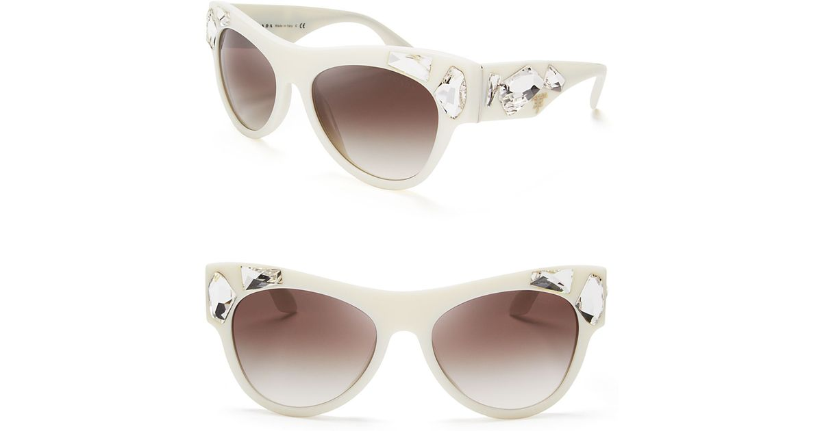 131ca461cb71 Lyst - Prada Oversized Crystal Cat Eye Sunglasses in White
