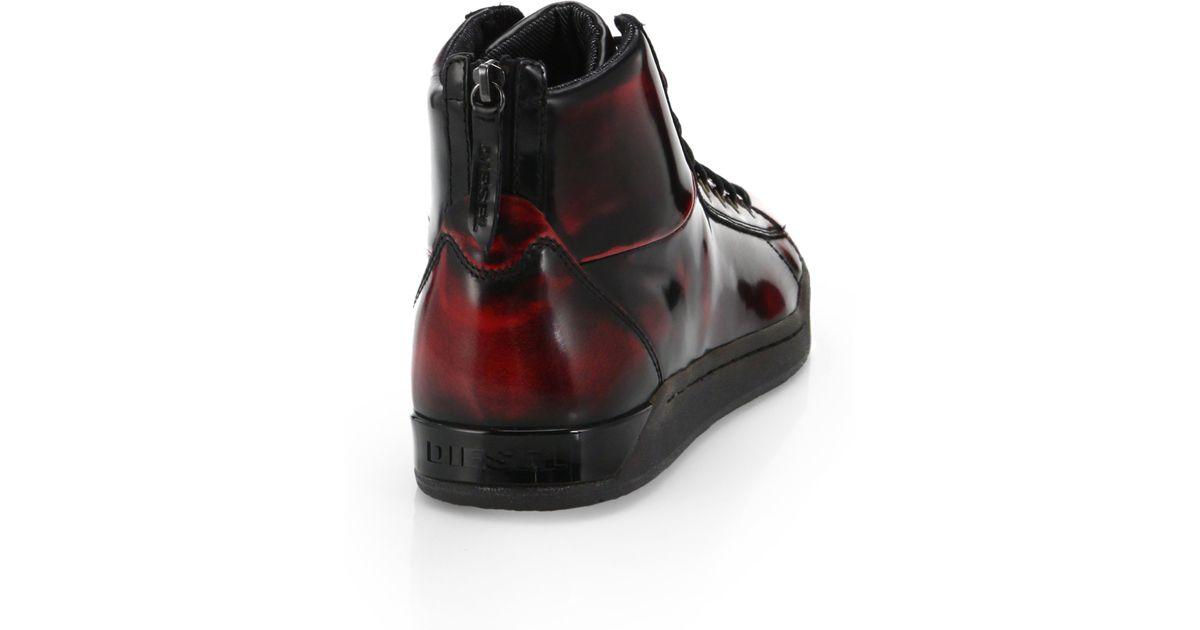 de153b8667 Lyst - DIESEL Tempus Diamond Leather High-Top Sneakers in Red for Men