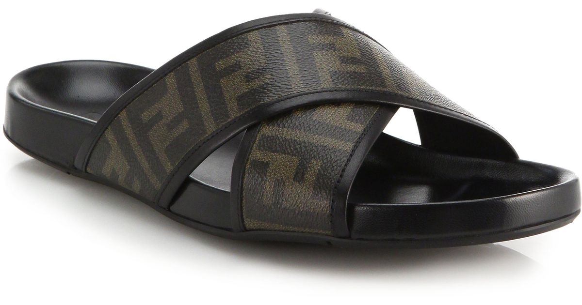 13853ca48e4f Lyst - Fendi Zucca Logo Criss-cross Sandals in Brown for Men