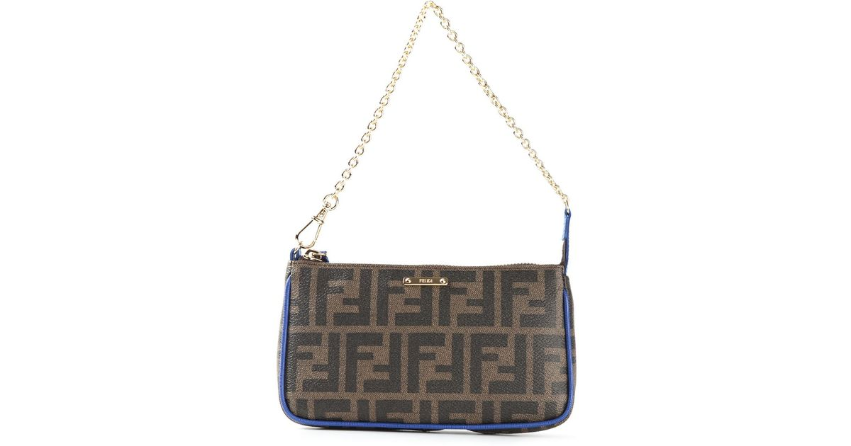 a605c88330bf Lyst - Fendi Small Ff Logo Shoulder Bag in Brown