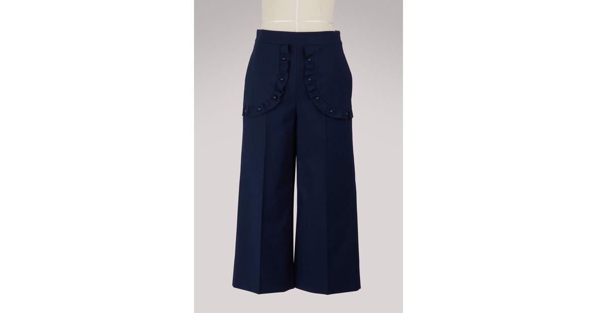 Wide-leg cropped ruffled pants Red Valentino SzqWxX