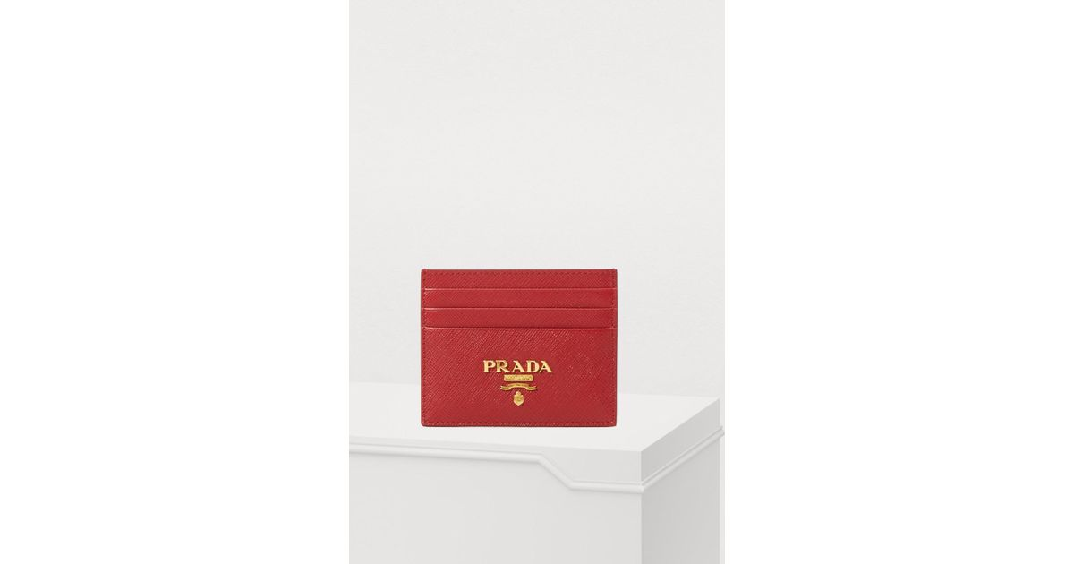 d90b8a2faf0e ... italy prada card holder in red lyst 9ae1d 07fba