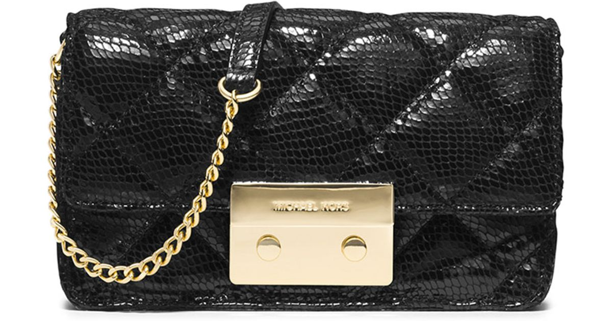 3a869d823f65 MICHAEL Michael Kors Sloan Quilted Snake-print Crossbody Bag in Black - Lyst