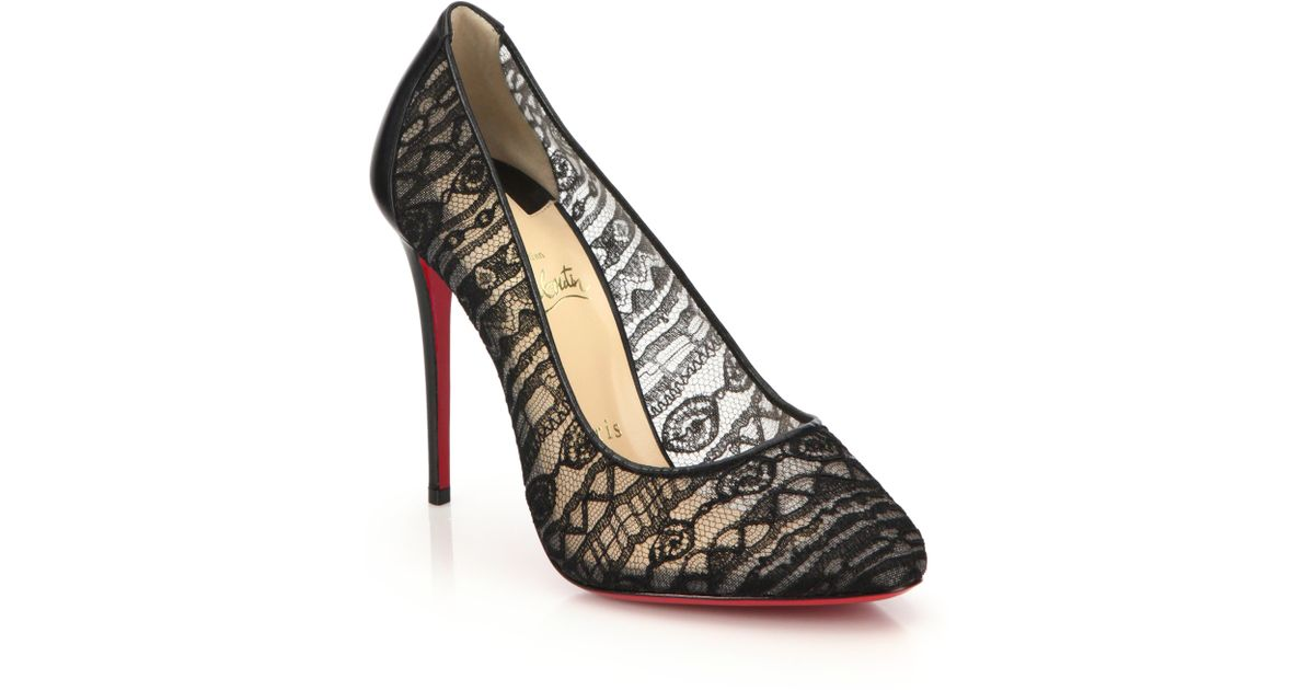 c0dcdfbc4e2 Lyst - Christian Louboutin Dorissima Lace and Leather Pumps in Black