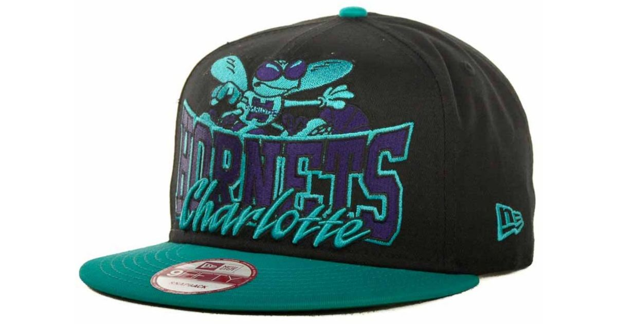 buy online 8f725 5cae3 ... reduced lyst ktz charlotte hornets nba hardwood classics up under  9fifty snapback cap in blue for