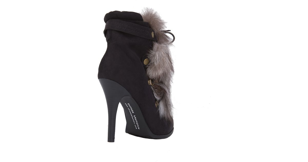 Lyst - Chinese Laundry Hurry-up Faux Suede Fur Ankle Boots - Black in Black 32413a54091c