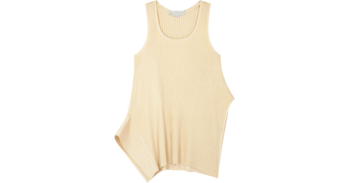 7843c059183cd9 Stella Mccartney Butter Asymmetric Ribbed Top in Natural - Lyst