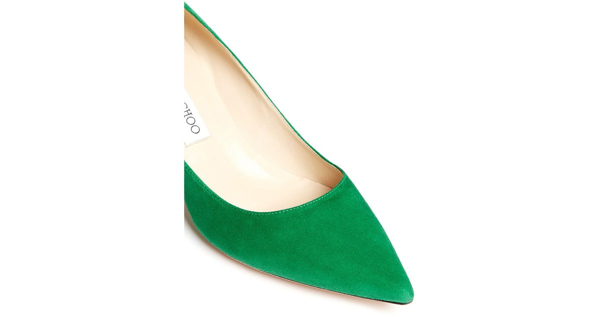 5b7de26212d1 Lyst - Jimmy Choo  aza  Suede Kitten Heel Pumps in Green