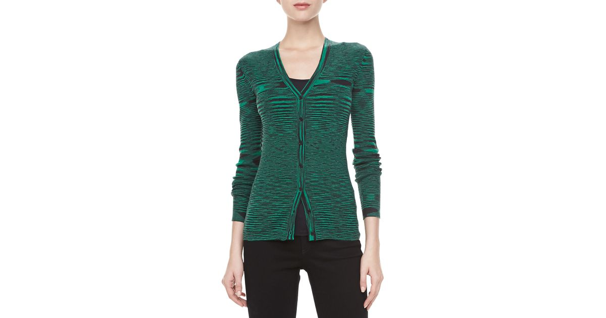 Michael kors Space Dye Cashmere Cardigan Emerald | Lyst