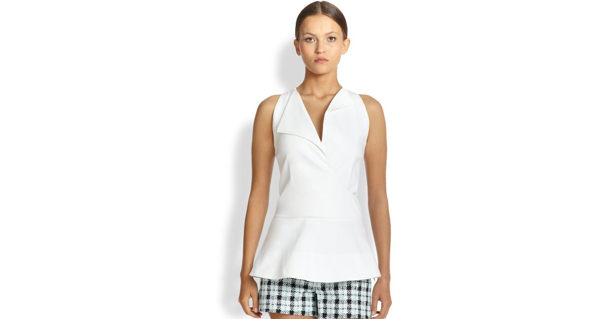 Derek Lam Denim Peplum Wrap Top In White