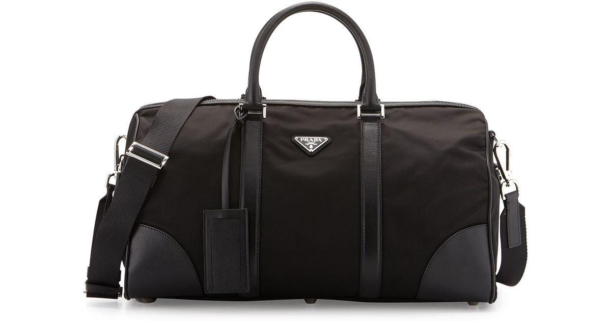 Prada Leather-Trimmed Duffel in Black | Lyst
