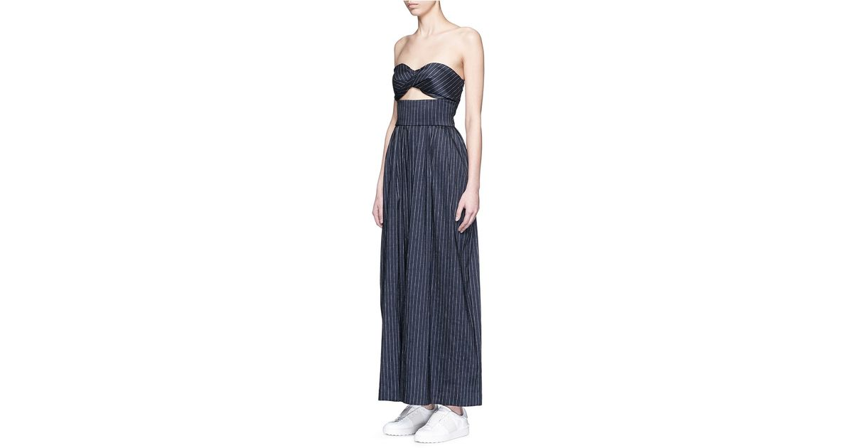2ac3813431b Lyst - Rosie Assoulin  morning After  Pinstripe Cutout Cotton Jumpsuit in  Blue