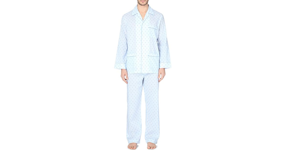 Derek Rose Arlo Fleur-de-lis Cotton Pyjama Set - For Men in Blue for Men -  Lyst fb77f2e4a