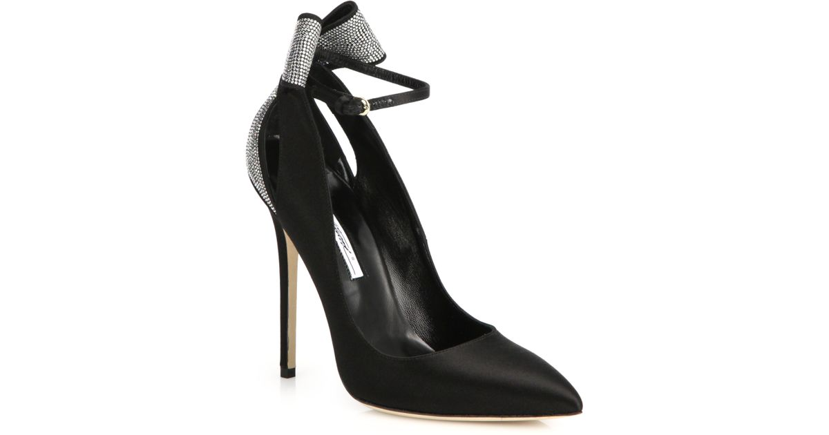 911002ba023 Lyst - Brian Atwood Magda Strass Crystal   Satin Bow Pumps in Black