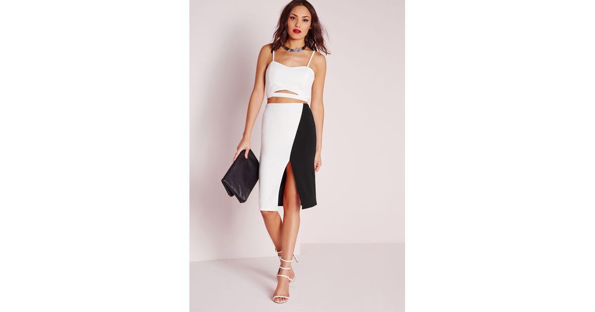 missguided monochrome front split midi skirt white in