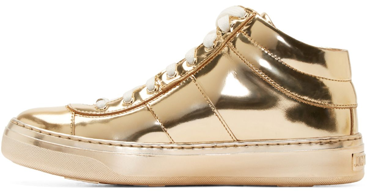 lyst jimmy choo gold leather sneakers in metallic rh lyst com jimmy choo rose gold sneakers