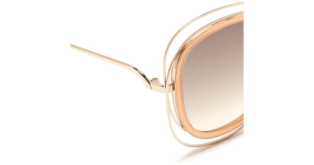 60be1069cb160 Lyst - Chloé  carlina  Overlap Wire Rim Round Sunglasses in Pink