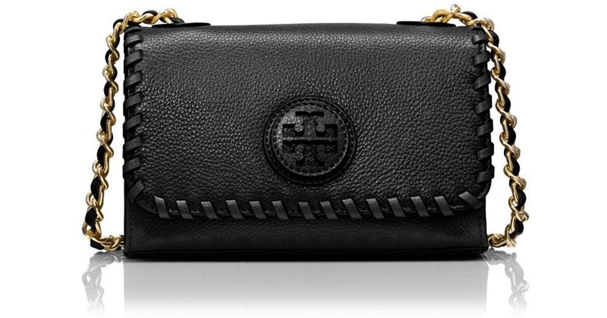 d4441847b174 Lyst - Tory Burch Marion Shrunken Shoulder Bag in Black