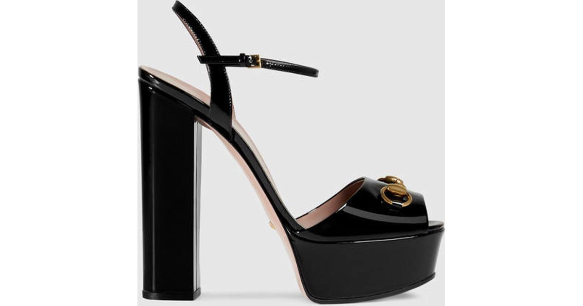 Gucci Sandales En Cuir Verni Noir - vafj9t
