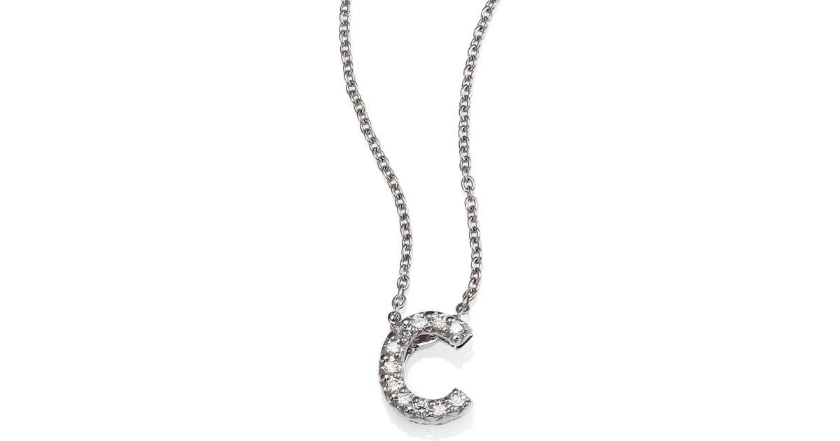 roberto coin tiny treasures diamond amp 18k white gold love letter