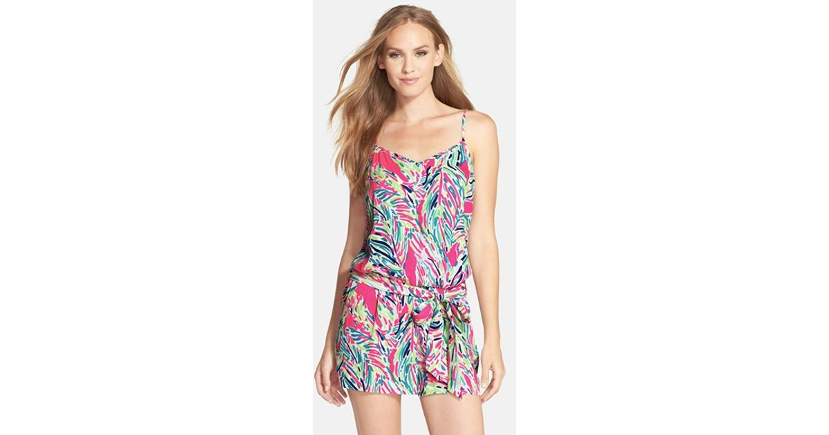 1e6c2d8b6d58 Lyst - Lilly Pulitzer  deanna  Belted V-neck Romper