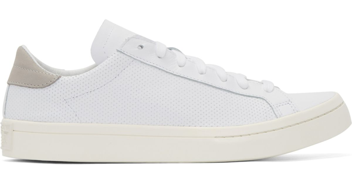 low priced 5f180 20d8a Lyst - adidas Originals White And Grey Court Vantage Sneakers in White for  Men