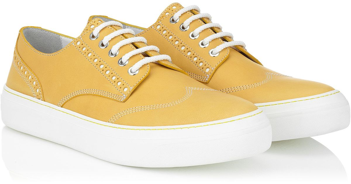 Jimmy choo reggy canary yellow leather trainers in yellow for Jimmy choo mens shirts