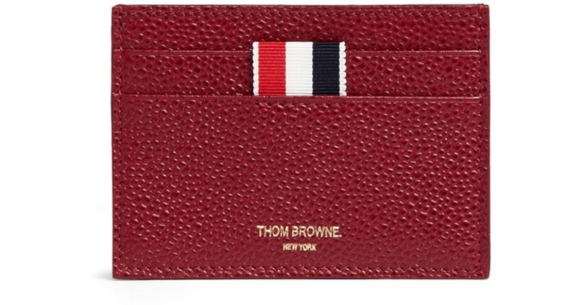 lyst thom browne grosgrain loop pebble leather cardholder in red - Thom Browne Card Holder