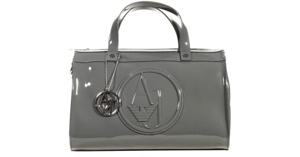 6a1adf08902b Lyst - Giorgio Armani Handbag Trunk Bag Patent Leather 31X25X16 Cm in Gray