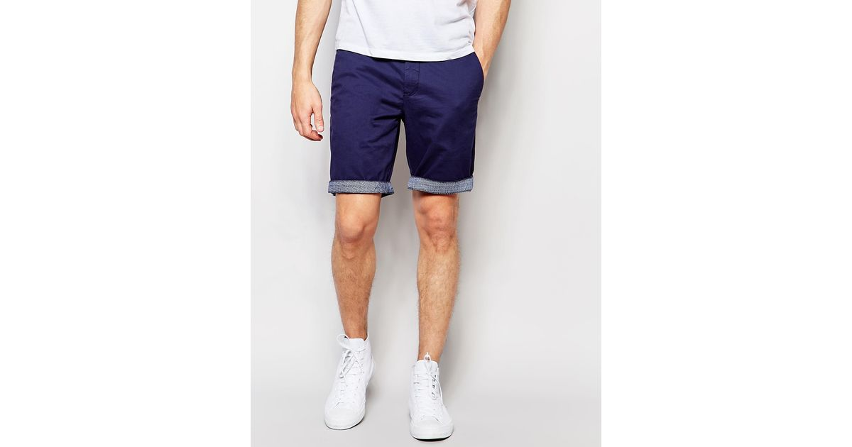 Ted baker Chino Shorts With Contrast Turn Up In Slim Fit - 12-dark ...