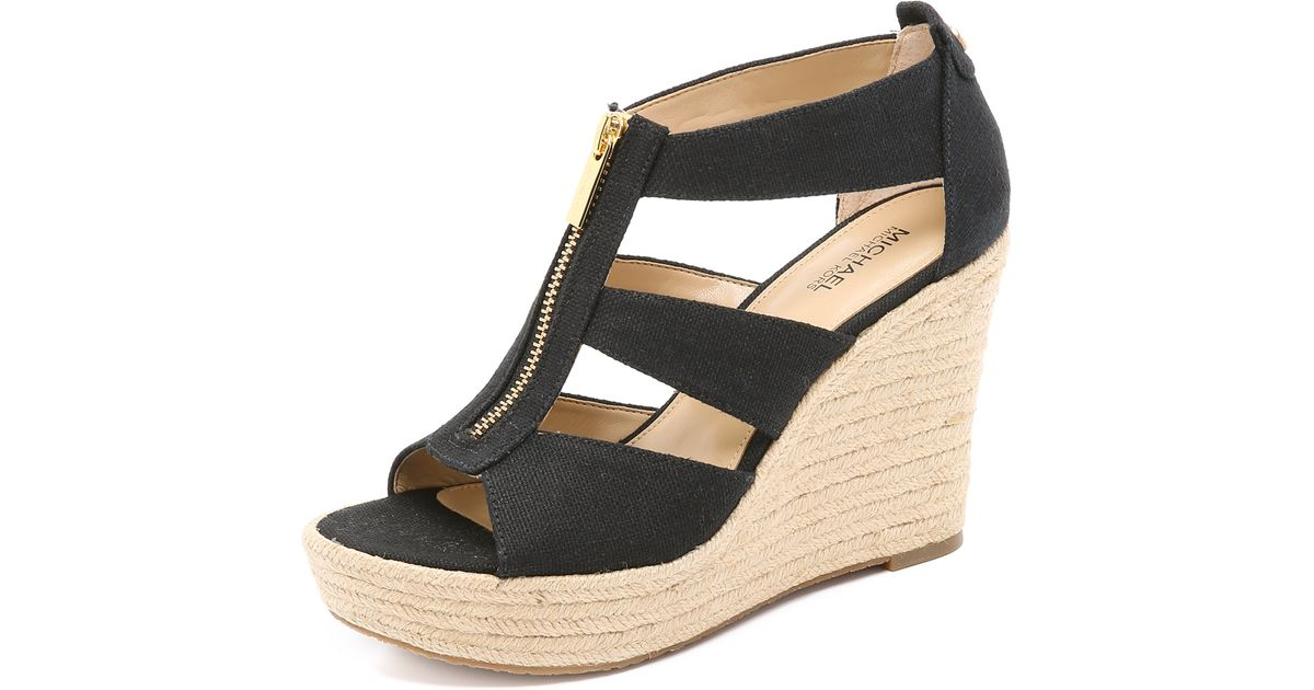 eb21cc22ddbf Lyst - MICHAEL Michael Kors Damita Wedge Sandals in Black