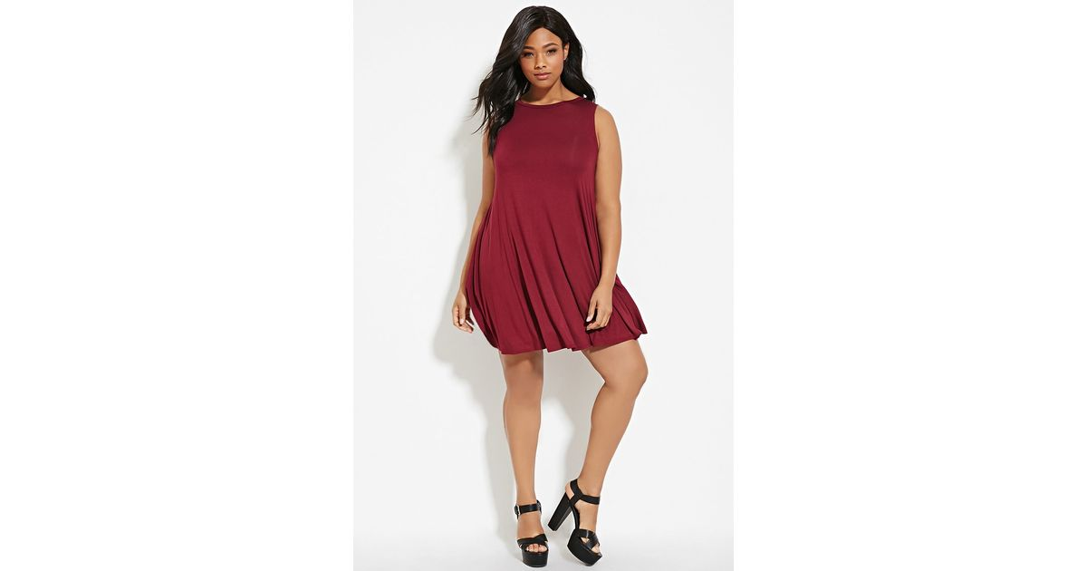 Lyst Forever 21 Plus Size Trapeze Dress In Purple